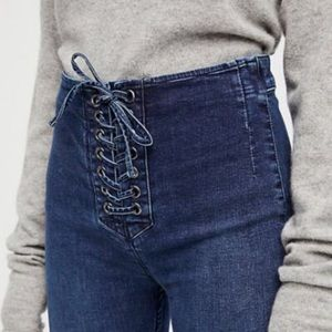 Free People Lace Up Skinny Jeans Size 30